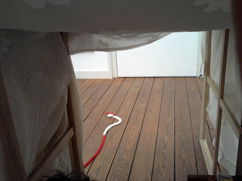 De open achterkant van de tent