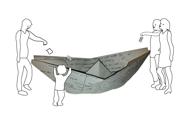 Papieren boot met mensen