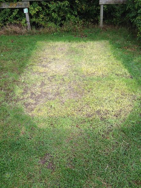 Tentafdruk in het gras, van bovenaf gezien