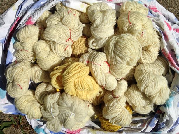 Strengen gesponnen wol, het resultaat tot nu toe